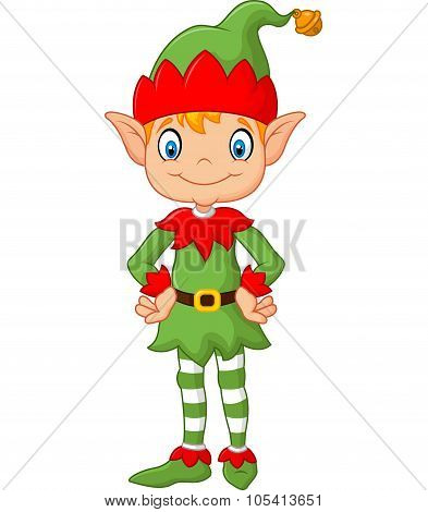 Cartoon Cute Christmas elf posing