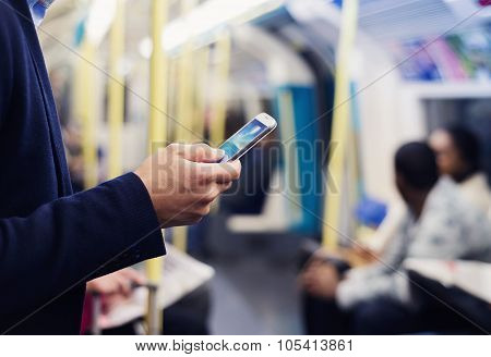 Businessman in subway