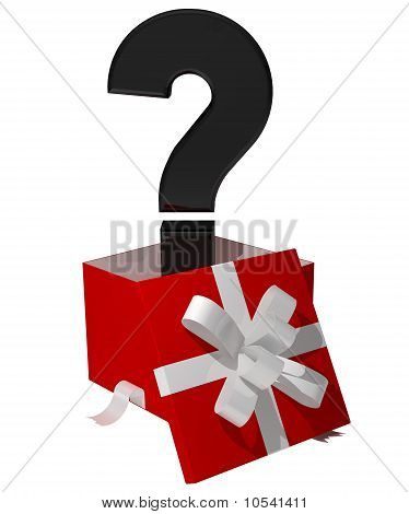 questiom mark comming out giftbox