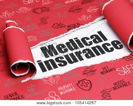 Insurance concept: black text Medical Insurance under the piece of  torn paper