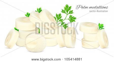 Chopped hearts of palm with parsley. Vector illustration.