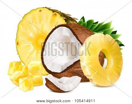 Pineapple and coconut. Vector illustration.