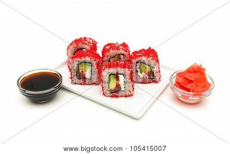 Japanese Rolls With Avocado And Caviar Close-up On A White Background