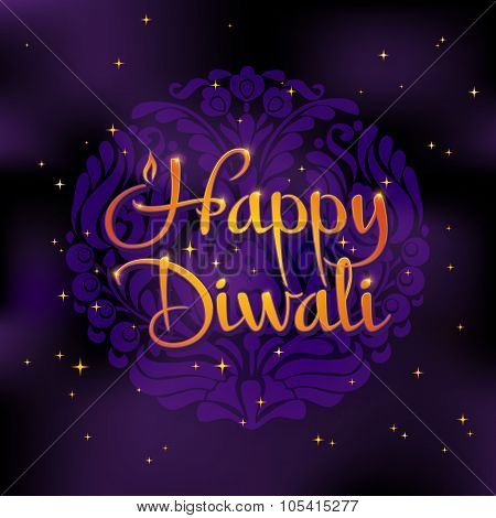 Beautiful greeting card for Hindu community. Happy diwali festival background illustration.