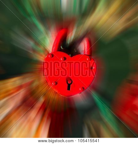 Red Heart Shape Lock On Color Blurred Motion Bokeh Background.