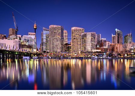 Sydney, Australia - November 24, 2015 : Night Scene Of Darling Harbour.