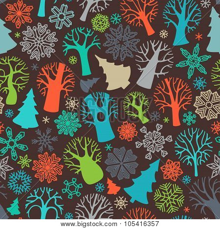 Seamless Festive Colorful Forest Pattern.