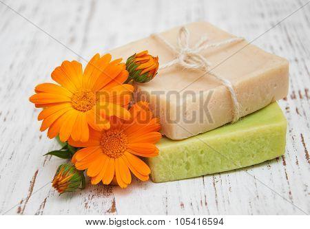 Calendula Flowers And Bath Soap