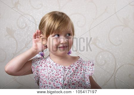 Little Listening Smiling Girl