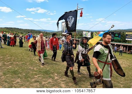 Vatra, Moldova. June 28, 2015. Medieval Festival. Historic Clubs From Europe - Theatrical Performanc