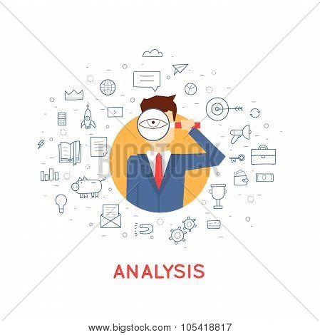 Man analyzes data.