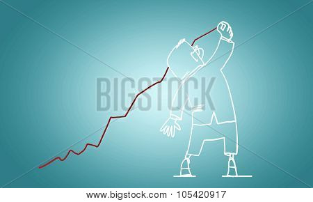 Caricature of funny businessman on blue background