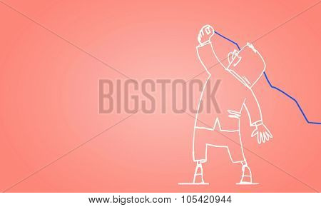 Caricature of funny businessman on pink background