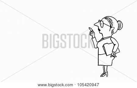 Caricature of funny woman teacher on white background