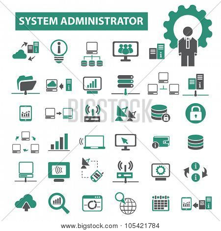 system administrator, network, hosting icons