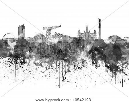 Glasgow Skyline In Black Watercolor