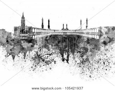 Mecca Skyline In Black Watercolor