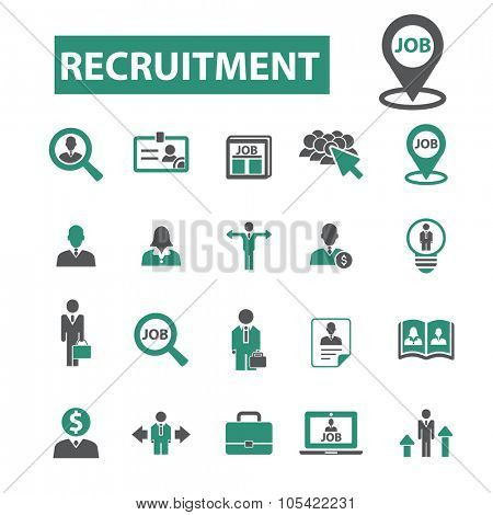 recruitment, job, CV, career, hr icons