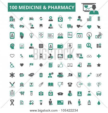 100 medicine, pharmacy, health care, doctor, therapy icons