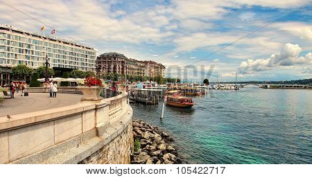 Geneva, Switzerland - July 12, 2014. Waterfront Views Of Lake Geneva