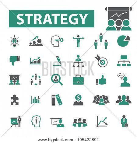management, business strategy, idea icons