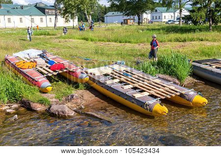 Sports Catamarans On The Shore Of Lake Valdai In Russia