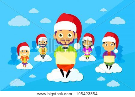 Cartoon Man and Woman New Year Christmas Santa Hat People Group Sitting on Clouds Use Digital Device