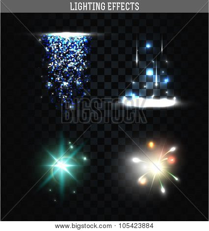 Set of lighting isolated effects. Magic, bright stars