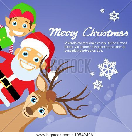 Merry Christmas Santa Clause Reindeer Elf Character Poster Greeting Card