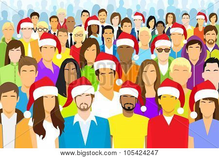 Christmas Group of People Wear Santa Hat Big Crowd New Year