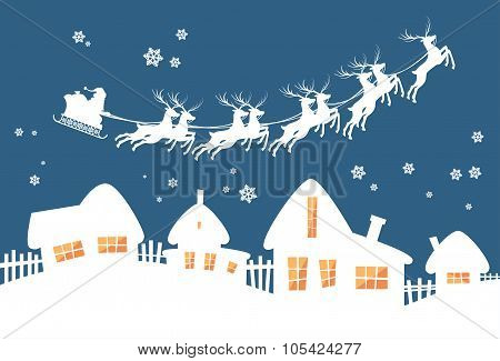 Santa Claus Sleigh Reindeer Fly Sky over House Christmas New Year Card