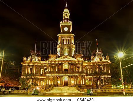 Sydney, Australia - NOVEMBER, 2015: View Of Sydney Town Hall Building Night Time NOVEMBER 3, 2015