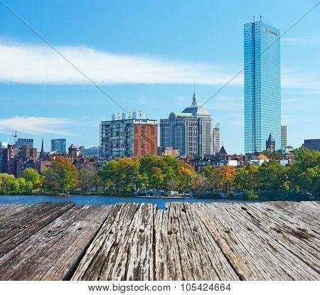 Boston view from Harvard Bridge at Massachusetts, USA