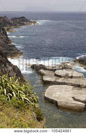 Azores Coastline Landscape With Natural Pool In Flores Island. Portugal