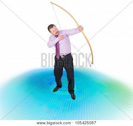 Businessman practicing archery