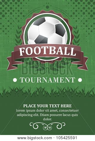 Football tournament vector background. d. Design With Soccer Ball, Ribbon And Laurel Wreath.