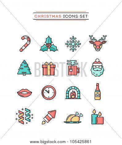 Set Of Beautiful Christmas Icons, Flat Design Thin Line Style