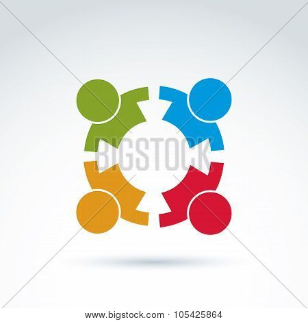 Teamwork And Business Team And Friendship Icon, Social Group, Organization, Vector