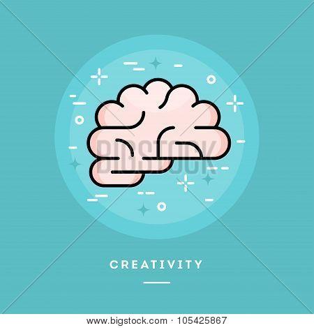 Brain Icon, Flat Design Line Style Banner
