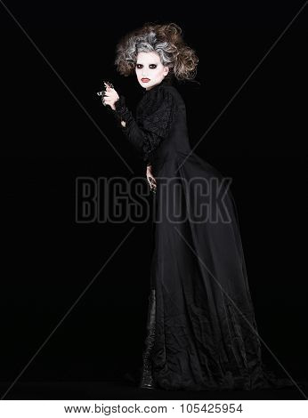 Vampire Woman With Black Gothic Costume Halloween Concept