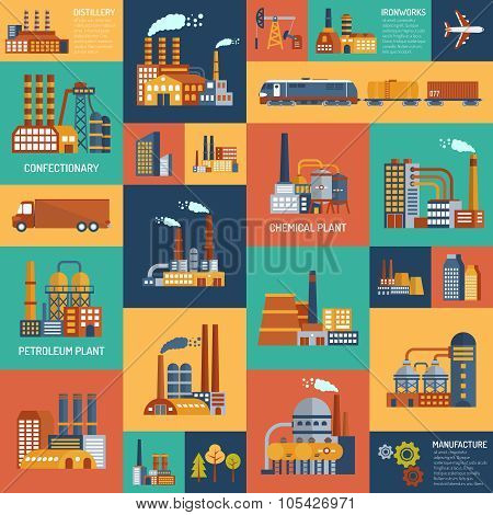 Icons Set With Different Types Of  Industrial Enterprises