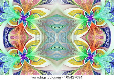 Multicolored Symmetrical Flower Pattern In Stained-glass Window Style. Green And Purple Palette.