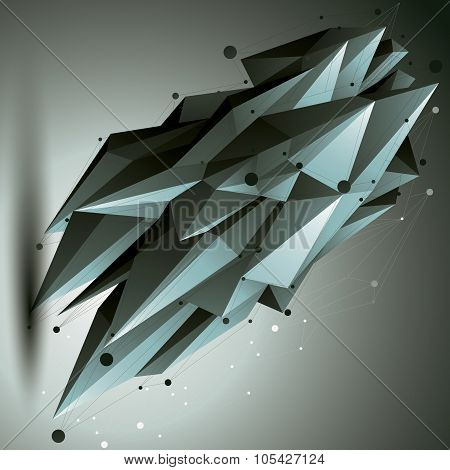 Spatial Technological Contrast Shape, Vector Polygonal Single Color Wireframe Object.