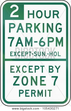 Two Hour Parking Except Zone 7