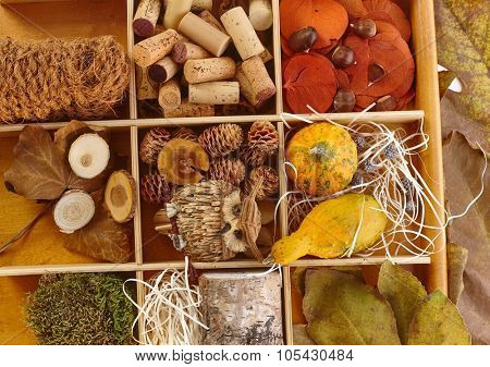 Autumn fruits, pineal, marrow, chestnut, leaves, cork, ropes, decor owl for creative artwork stored in wooden compartment.