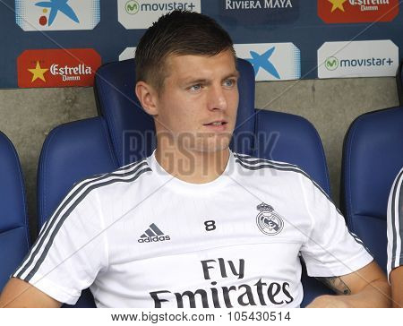 BARCELONA - SEPT, 12: Toni Kroos of Real Madrid during a Spanish League match against RCD Espanyol at the Power8 stadium on September 12 2015 in Barcelona Spain