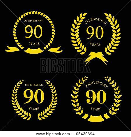 80 ninety years  icon Template for celebration and congratulation design. 80th anniversary laurel go