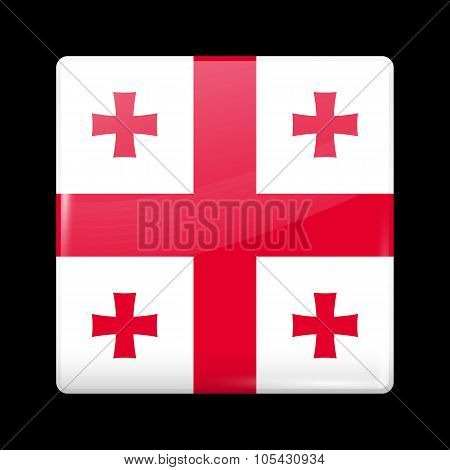 Flag Of Georgia. Glassy Icon Square Shape