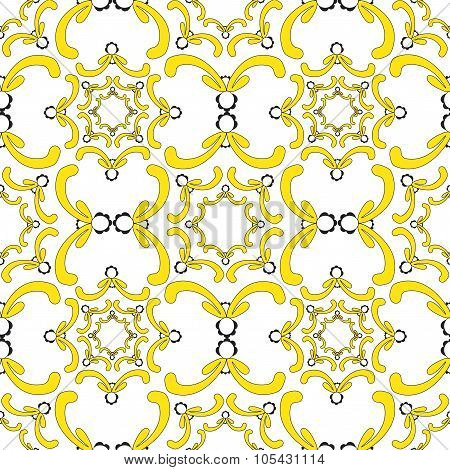 Ornamental Seamless Pattern. Vintage Template. Soft Yellow Elements On The White Background.