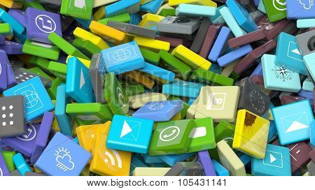 Background crowded with various beveled square apps